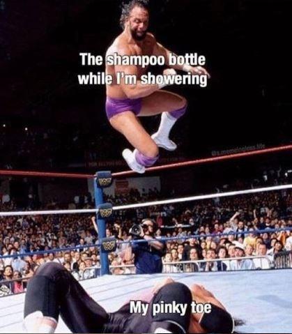 "Wrestling meme - ""The shampoo bottle while I'm showering; My pinky toe"""