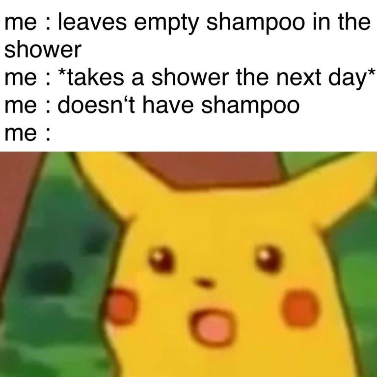 Cartoon - me leaves empty shampoo in the shower me *takes a shower the next day* me doesn't have shampoo me