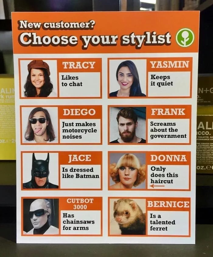 "Meme - ""New customer? Choose your stylist: YASMIN: Keeps it quiet; TRACY: Likes to chat; DIEGO: Just makes motorcycle noises; FRANK: Screams about the government; JACE: Is dressed like Batman; DONNA: Only does this haircut; CUTBOT 3000: Has chainsaws for arms; BERNICE: Is a talented ferret"""