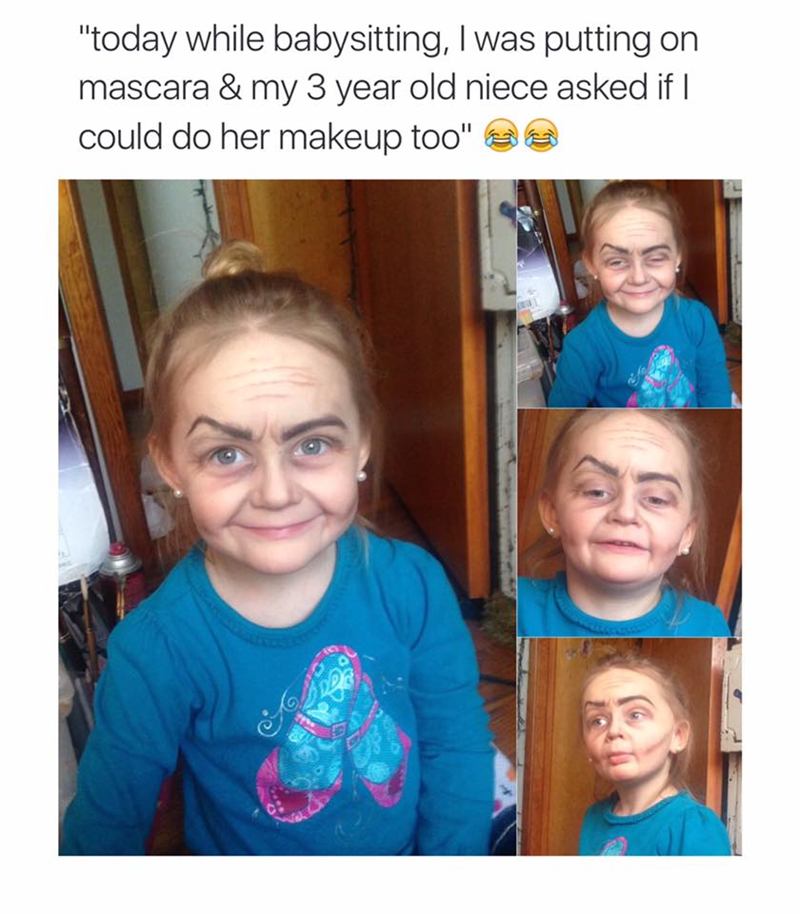 "Face - ""today while babysitting, I was putting on mascara & my 3 year old niece asked if I could do her makeup too"""