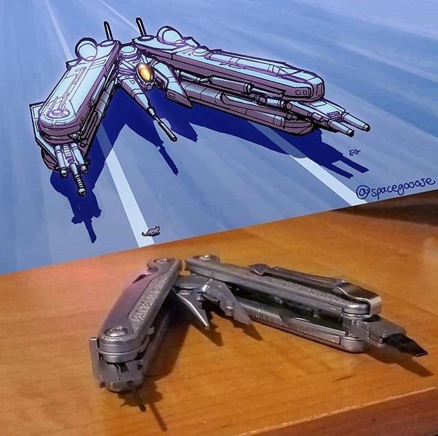 everyday items turned spacecrafts - Mecha - spacegooase