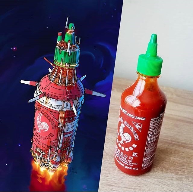 everyday items turned spacecrafts - Product - NOT CHILI SAUCE seee eedy sehas Nuta 品公司 OoDs. ING CA 1e 82 a435 mL)