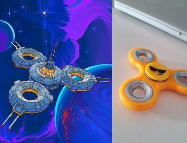 everyday items turned spacecrafts - Orange