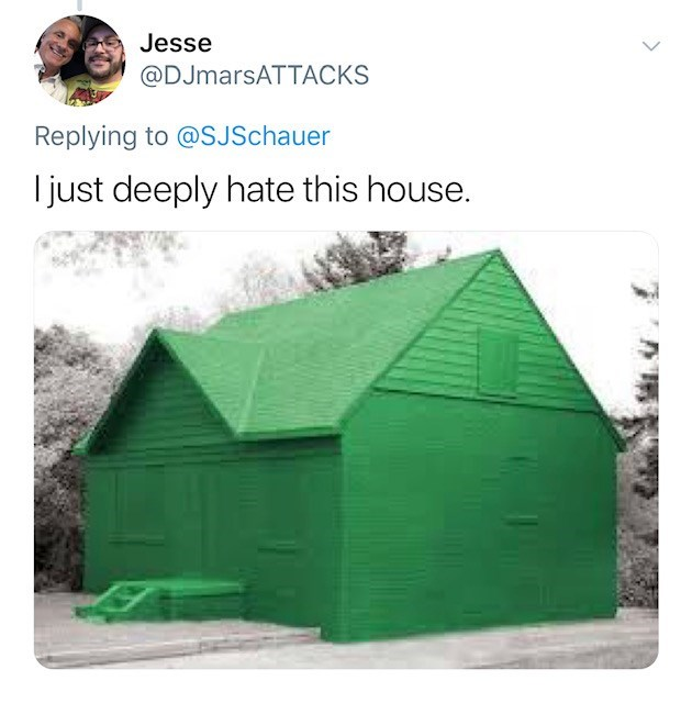 house that is completely painted green, including windows roof and all exterior items, in snow setting - Jesse @DJmarsATTACKS Replying to @SJSchauer I just deeply hate this house.