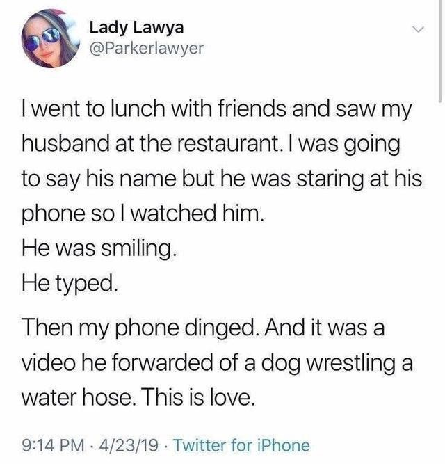 Text - Lady Lawya @Parkerlawyer I went to lunch with friends and saw my husband at the restaurant. I was going to say his name but he was staring at his phone so I watched him. He was smiling. He typed Then my phone dinged. And it was a video he forwarded of a dog wrestling a water hose. This is love. 9:14 PM 4/23/19 Twitter for iPhone