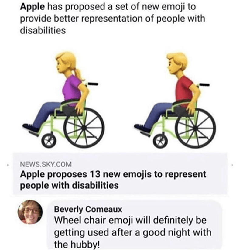 Funny meme about old woman on facebook talking about using the wheelchair emoji after she has crazy sex.