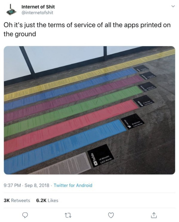 Line - Internet of Shit @internetofshit Oh it's just the terms of service of all the apps printed on the ground 28 Minu 18 Minutes 3425 Words 9:37 PM Sep 8, 2018 Twitter for Android 3K Retweets 6.2K Likes oulabe