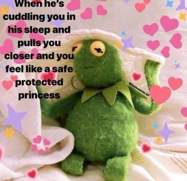 Stuffed toy - When he's cuddling you in his sleep and pulls you closer and you feel like a safe protected princess Wholesome.bf