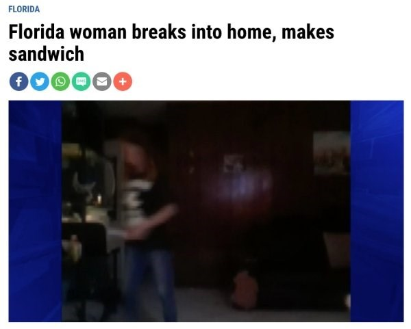 Text - FLORIDA Florida woman breaks into home, makes sandwich