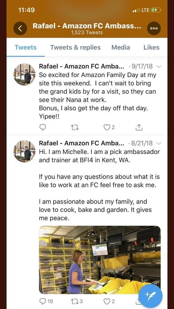 "Tweet - ""So excited for Amazon Family Day at my site this weekend. I can't wait to bring the grand kids by for a visit, so they can see their Nana at work. Bonus, I also get the day off that day. Yipee!! 2 Rafael Amazon FC Amba.. 8/21/18 Hi. I am Michelle. I am a pick ambassador and trainer at BF14 in Kent, WA. If you have any questions about what it is like to work at an FC feel..."""
