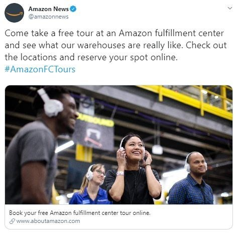 Product - Amazon News @amazonnews Come take a free tour at an Amazon fulfillment center and see what our warehouses are really like. Check out the locations and reserve your spot online. #AmazonFCTours Book your free Amazon fulfillment center tour online. www.aboutamazon.com CA