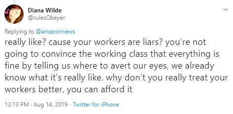 Text - Diana Wilde @rulesObeyer Replying to@amazonnews really like? cause your workers are liars? you're not going to convince the working class that everything is fine by telling us where to avert our eyes, we already know what it's really like. why don't you really treat your workers better, you can afford it 12:13 PM- Aug 14, 2019 Twitter for iPhone