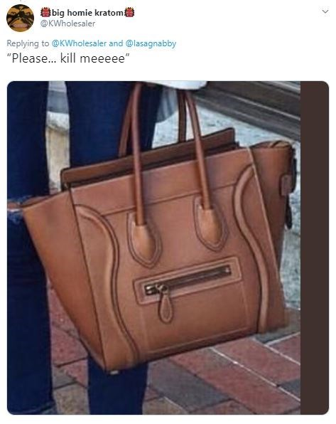 "Handbag - big homie kratom @KWholesaler Replying to@KWholesaler and @lasagnabby ""Please... kill meeeee"" >"