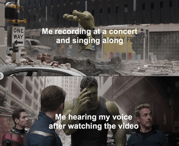 Photo caption - Me recording at a concert and singing along F ONE WAY @a.valid sermame Me hearing my voice after watching the video