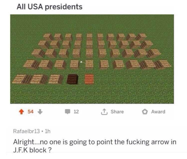 """Meme - """"All USA presidents; Alright...no one is going to point the fucking arrow in J.F.K block?"""""""