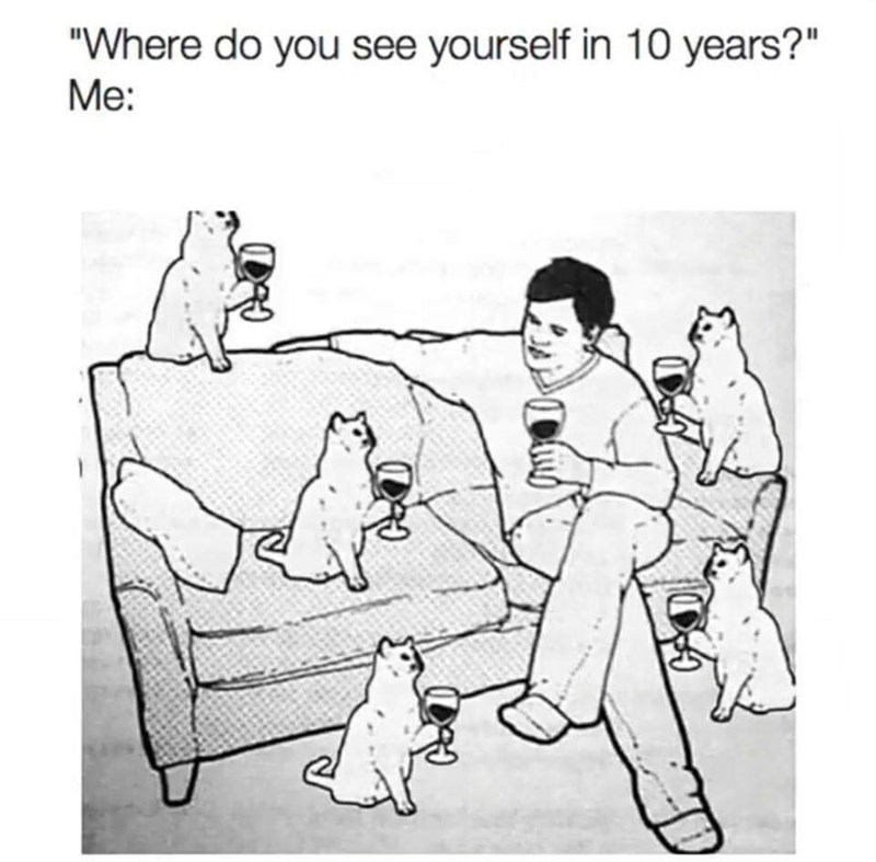 """Cartoon - """"Where do you see yourself in 10 years?"""" Me:"""