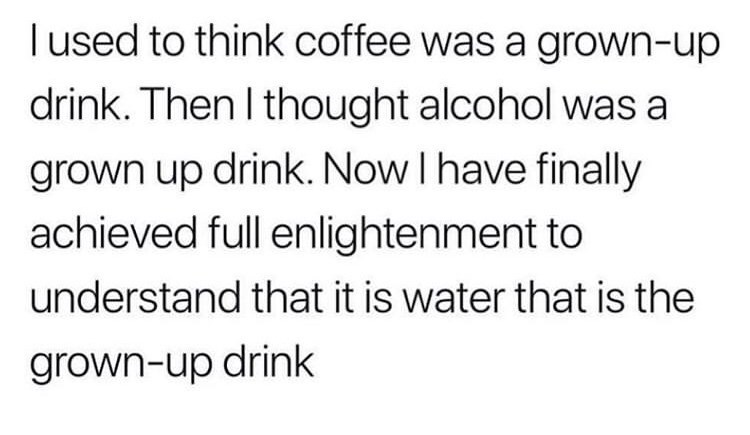 Text - used to think coffee was a grown-up drink. Then I thought alcohol was a grown up drink. Now I have finally achieved full enlightenment to understand that it is water that is the grown-up drink