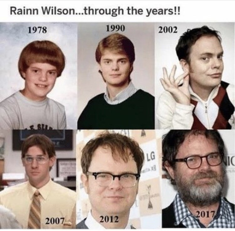 Hair - Rainn Wilson...through the years!! 1990 1978 2002 LG IC 2017 2012 2007