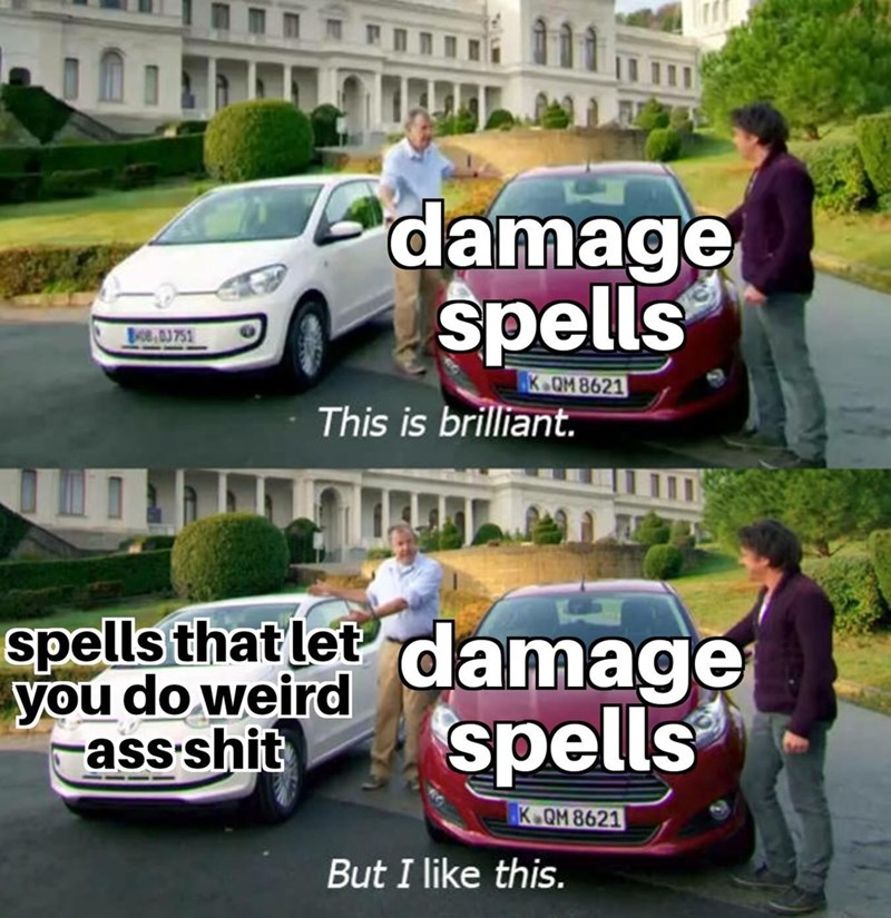 meme - Land vehicle - damage spells Boe aJ 751 K OM 8621 This is brilliant. spells that let you do weird ass shit damage spells K.QM 8621 But I like this.