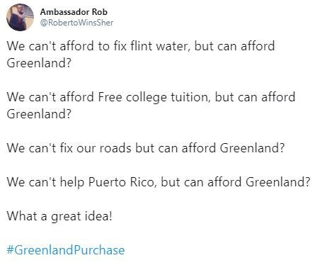 Text - Ambassador Rob @RobertoWinsSher We can't afford to fix flint water, but can afford Greenland? We can't afford Free college tuition, but can afford Greenland? We can't fix our roads but can afford Greenland? We can't help Puerto Rico, but can afford Greenland? What a great idea! #GreenlandPurchase
