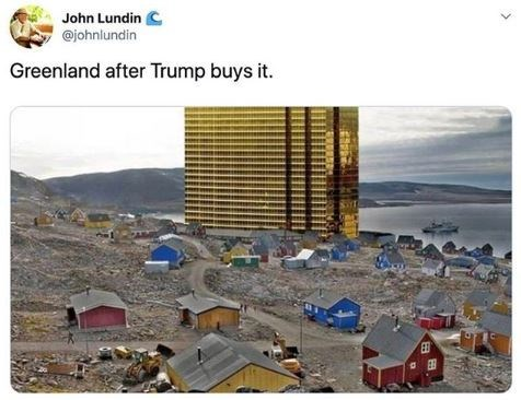 """Meme - """"Greenland after Trump buys it."""""""