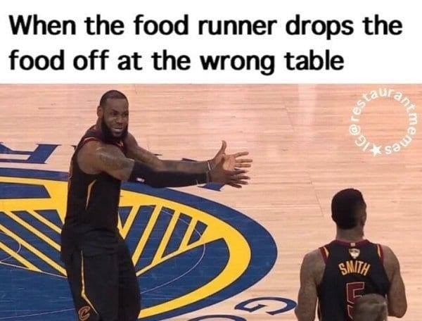 Font - When the food runner drops the food off at the wrong table esta SMITH meme