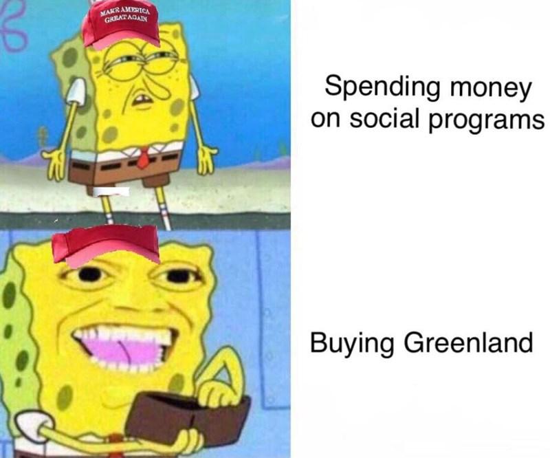 Cartoon - MAKRAMERICA GREAT AGAIN Spending money on social programs Buying Greenland