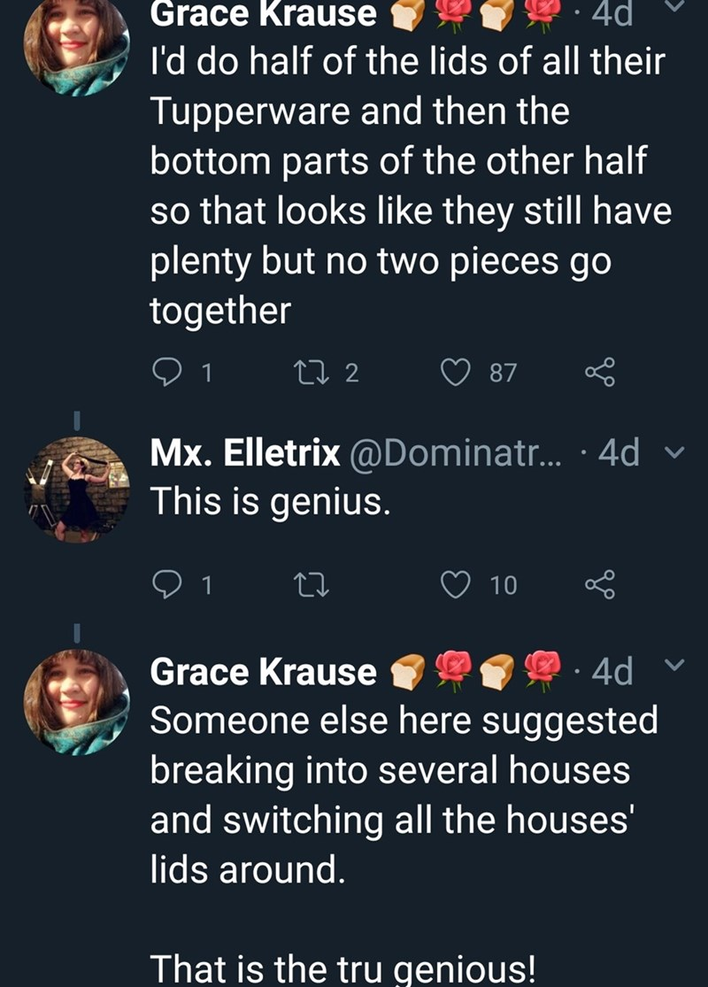 """Tweet that reads, """"I'd do half of the lids of all their Tupperware and then the bottom parts of the other half so that looks like they still have plenty but no two pieces go together; This is genius; Someone else here suggested breaking into several houses and switching all the houses' lids around. That is the tru genious!"""""""