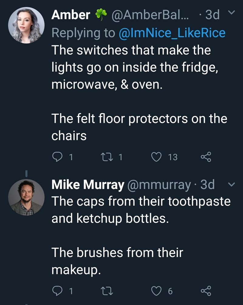 Text - @AmberBa.. 3d Replying to @ImNice_LikeRice Amber The switches that make the lights go on inside the fridge, microwave, & oven. The felt floor protectors on the chairs L 1 13 1 Mike Murray @mmurray 3d The caps from their toothpaste and ketchup bottles. The brushes from their makeup. 1