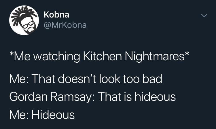 Text - Kobna @MrKobna Me watching Kitchen Nightmares Me: That doesn't look too bad Gordan Ramsay: That is hideous Me: Hideous >