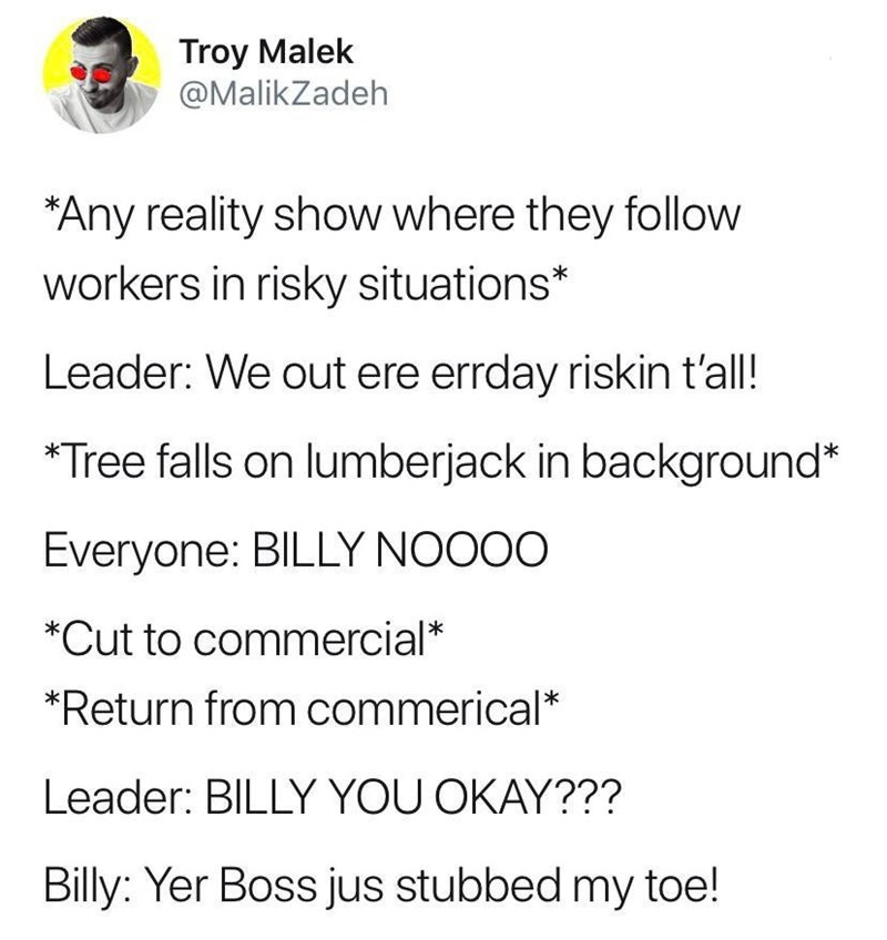 Text - Troy Malek @MalikZadeh *Any reality show where they follow workers in risky situations* Leader: We out ere errday riskin tal! Tree falls on lumberjack in background* Everyone: BILLY NOOOO *Cut to commercial* *Return from commerical* Leader: BILLY YOU OKAY??? Billy: Yer Boss jus stubbed my toe!