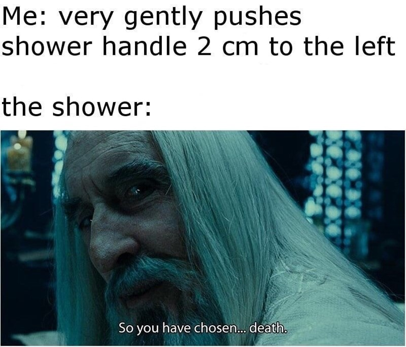 Funny Lord of the Rings meme about turning the shower nozzle up so that the water is too hot