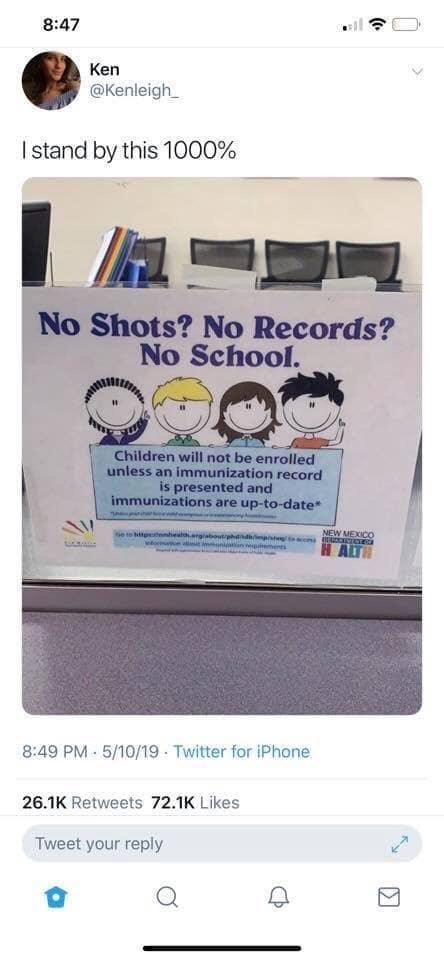 "Tweet - ""I stand by this 1000%"" ""No Shots? No Records? No School."""