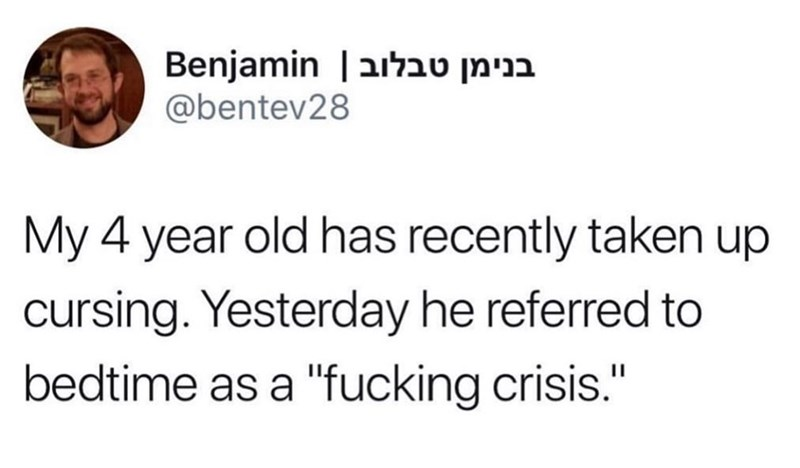 """Text - Benjamin   בנימן טבלוב @bentev28 My 4 year old has recently taken up cursing. Yesterday he referred to bedtime as a """"fucking crisis."""""""