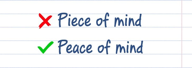 spelling - Text - X Piece of mind Peace of mind