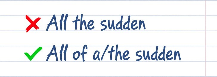 spelling - Text - X All the sudden V All of a/the sudden