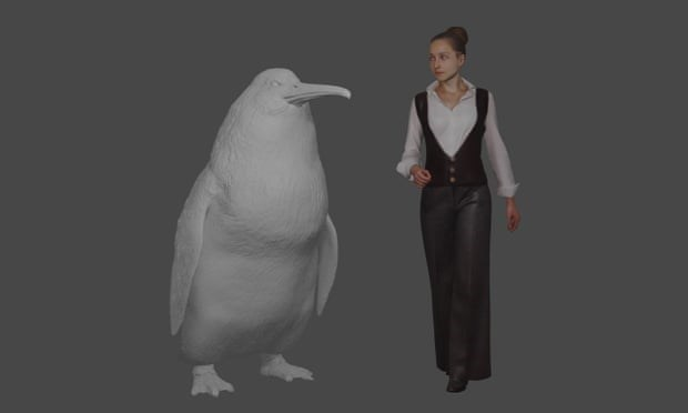 computer generated image of woman standing next to giant human sized penguin