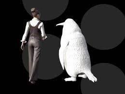 computer generated image of back of woman and human sized penguin