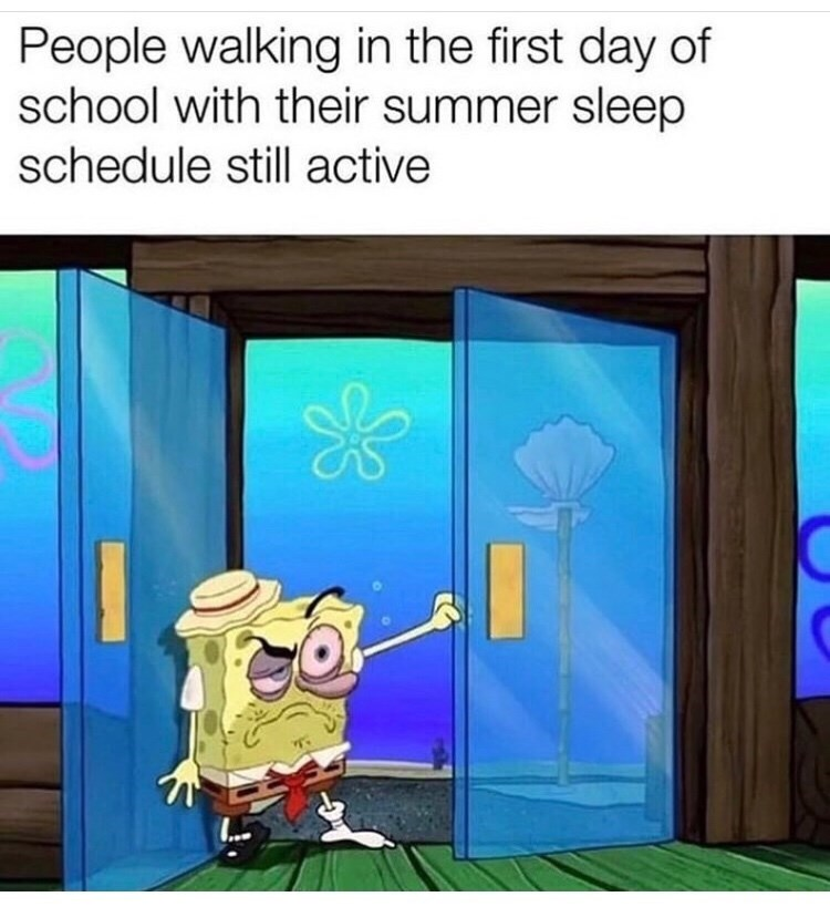 Cartoon - People walking in the first day of school with their summer sleep schedule still active ...