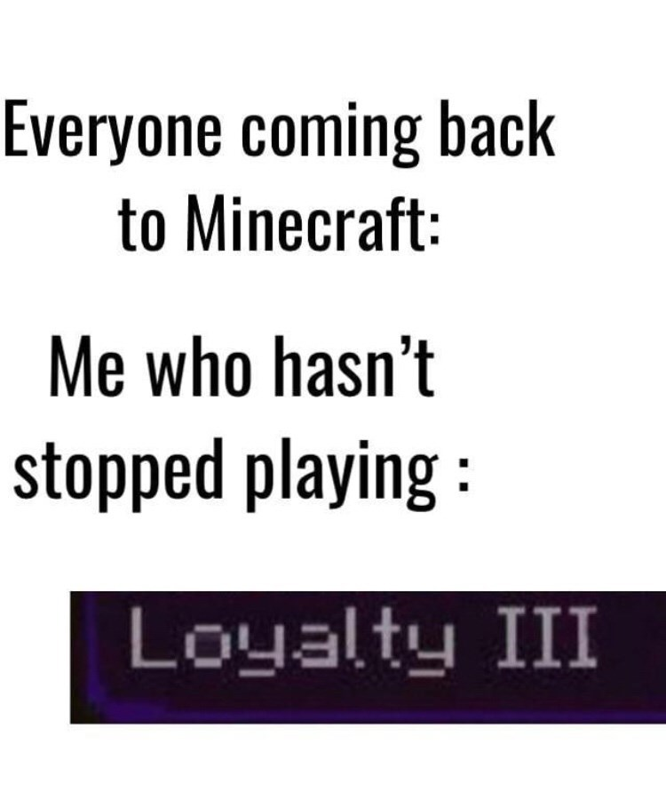 Text - Everyone coming back to Minecraft: Me who hasn't stopped playing Loyalty III
