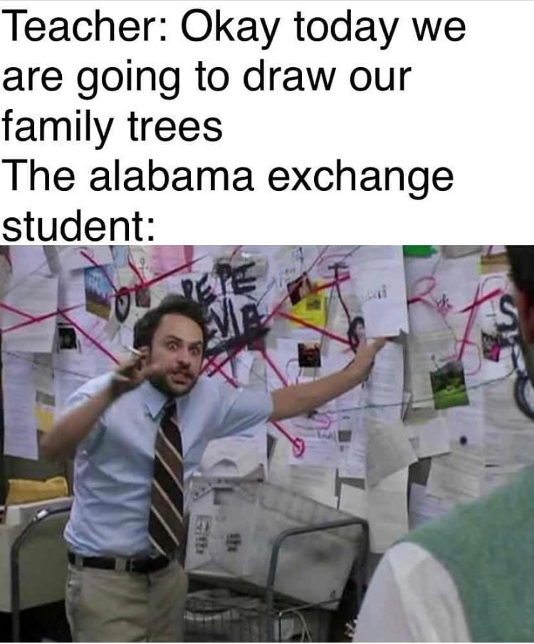 Text - Teacher: Okay today we are going to draw our family trees The alabama exchange student: Git