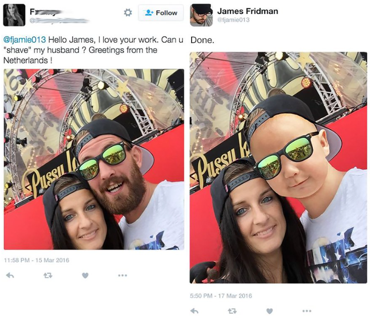 "photoshop - Eyewear - F Follow James Fridman efjamie013 @fjamie013 Hello James, I love your work. Can u Done. ""shave"" my husband? Greetings from the Netherlands! PuSS Pisson 11:58 PM-15 Mar 2016 5:50 PM 17 Mar 2016 17"