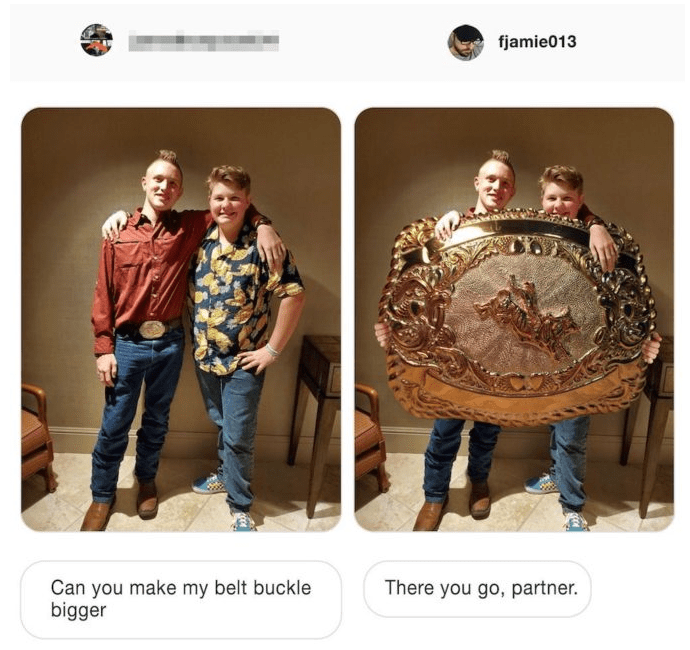 photoshop - Font - fjamie013 Can you make my belt buckle bigger There you go, partner.