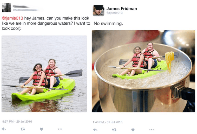 photoshop - Vehicle - James Fridman @fjamie013 @fjamie013 hey James. can you make this look like we are in more dangerous waters? I want to look cool(: No swimming 8:57 PM 29 Jul 2016 1:40 PM 31 Jul 2016 17 t3