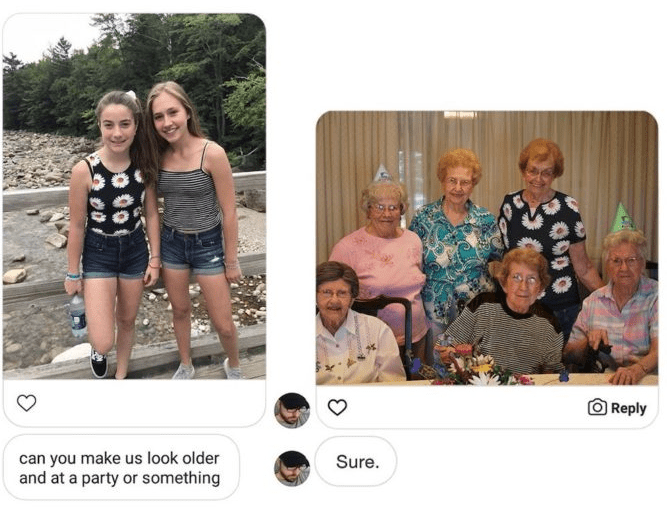 photoshop - People - Reply can you make us look older and at a party or something Sure.