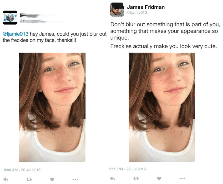 photoshop - Face - James Fridman @fjamie013 @f Don't blur out something that is part of you @fjamie013 hey James, could you just blur out Something that makes your appearance so the freckles on my face, thanks!!! unique. Freckles actually make you look very cute. 5:59 PM - 22 Jul 2016 8:00 AM-20 Jul 2016