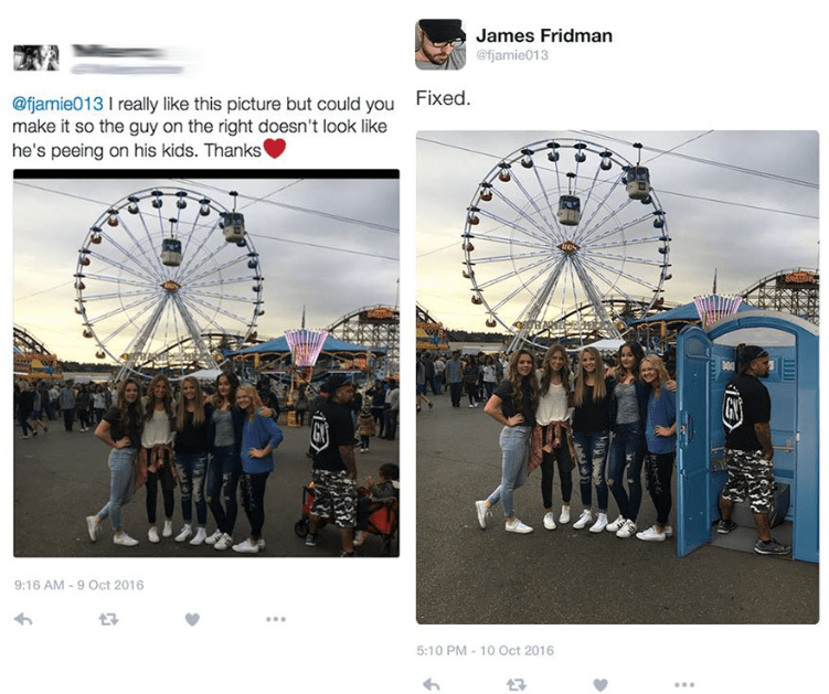photoshop - Ferris wheel - James Fridman @fjamie013 @fjamie013 I really like this picture but could you make it so the guy on the right doesn't look like he's peeing on his kids. Thanks Fixed. GY GY 9:16 AM-9 Oct 2016 5:10 PM 10 Oct 2016