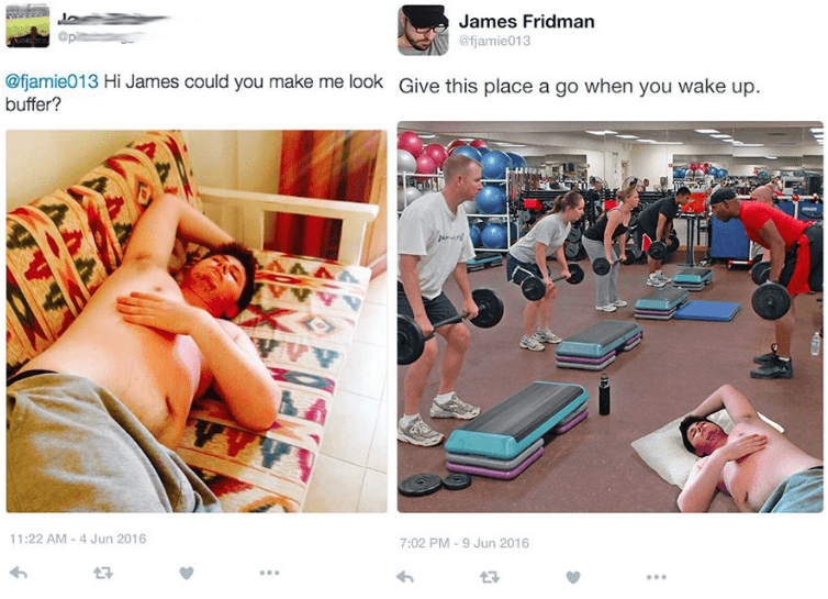 photoshop - Leg - James Fridman @fjamie013 @fjamie013 Hi James could you make me look Give this place a go when you wake up buffer? AAAA AAAAI 11:22 AM -4 Jun 2016 7:02 PM 9 Jun 2016