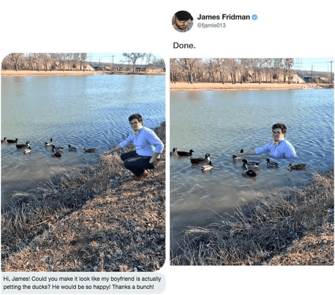 photoshop - Water - James Fridman @fjamie013 Done. Hi, James! Could you make it look like my boyfriend is actually petting the ducks? He would be so happy! Thanks a bunch!