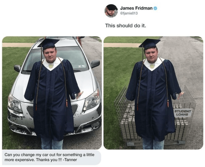 photoshop - Clothing - James Fridman @fjamie013 This should do it. STUDENT LOANS Can you change my car out for something a little more expensive. Thanks you!!! -Tanner